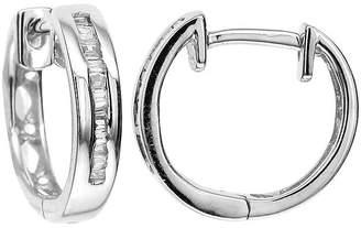 JCPenney FINE JEWELRY LIMITED QUANTITIES 1/10 CT. T.W. Diamond 10K White Gold Hoop Earrings