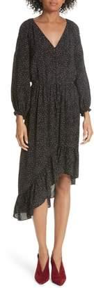 Joie Asymmetrical Dotted Chiffon Dress