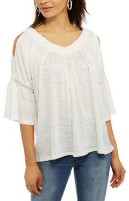 Thyme and Honey Women's Cold Shoulder Embroidered Peasant Top