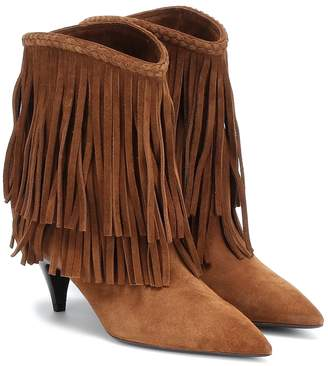 Saint Laurent Charlotte fringed suede ankle boots