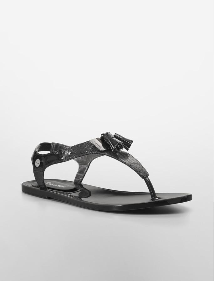 Calvin Klein Jaycee Lizard Print Patent Leather Sandal