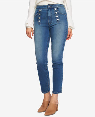 1 STATE 1.state Button Embellished Skinny Jeans