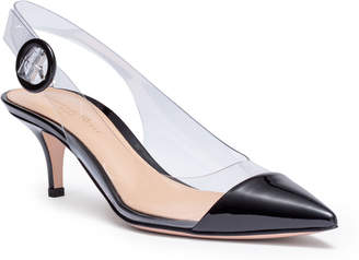 Gianvito Rossi Plexi 55 black patent leather sling back pumps