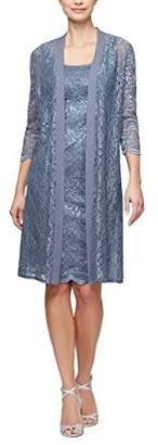 Alex Evenings Women's Elongated Lace Jacket with Short Empire Waist Dress (Petite and Regular Sizes)
