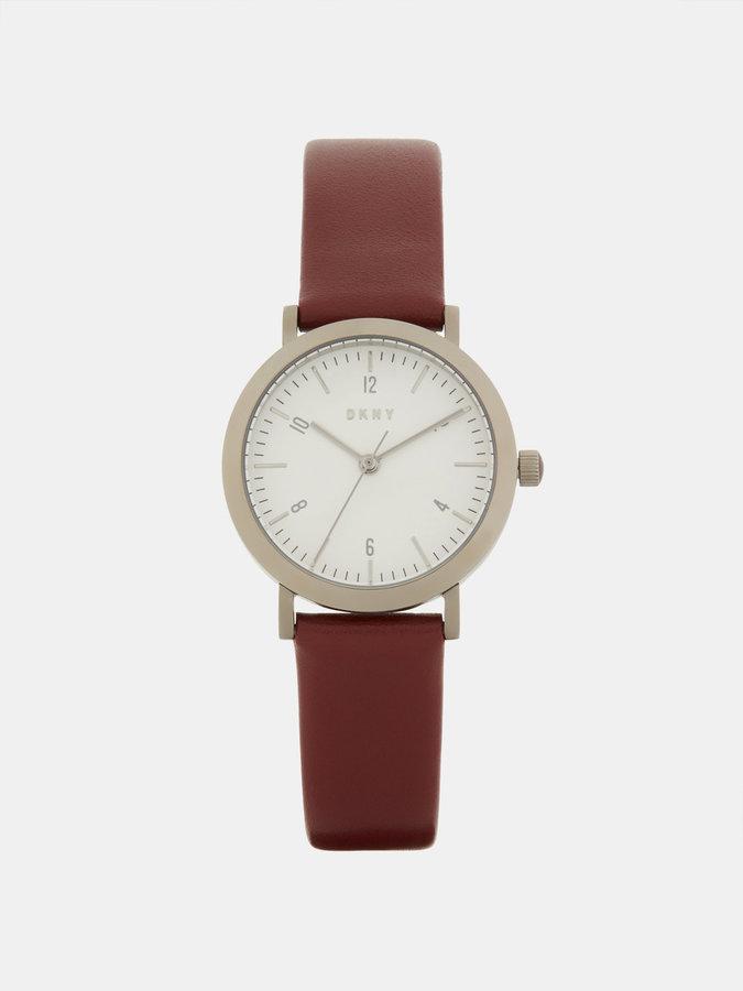 DKNYMinetta Burgundy Leather With Grey Ip Watch