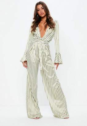 Missguided Tall Green Stripe Wide Leg Pants