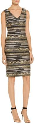 St. John Gilded Eyelash Engineered Inlay Knit V-Neck Dress