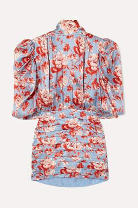 Magda Butrym Setubal Floral-print Silk-jacquard Mini Dress - Blue
