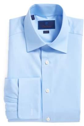 David Donahue Trim Fit Texture French Cuff Dress Shirt
