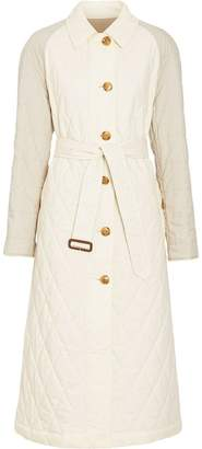 Burberry Reversible Contrast Sleeve Quilted Cotton Car Coat