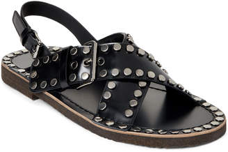 Prada Black Studded Crisscross Leather Sandals