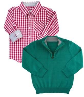 RuggedButts Gingham Shirt & Pullover Sweater Set