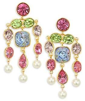 Kenneth Jay Lane Women's Faux Pearl & Glass Stone Gold Plated Chandelier Earrings