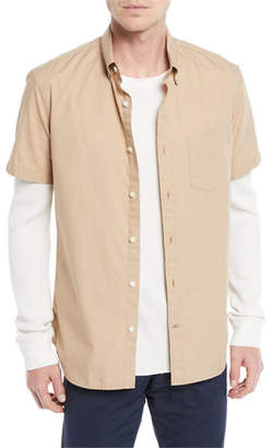 Vince Men's Poplin Short-Sleeve Sport Shirt