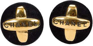 One Kings Lane Vintage Chanel Suede & Gold Earrings