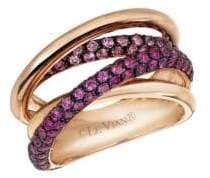 """LeVian Chocolatier® Bubblegum Pink Sapphiresâ""""¢ & 14K Strawberry Gold® Gladiator Weave Ring"""