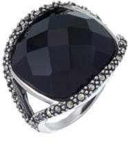 Lord & Taylor Sterling Silver and Onyx Dome Ring