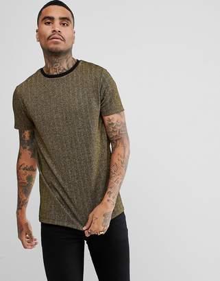 Asos DESIGN Longline T-Shirt In Gold Metallic Herringbone