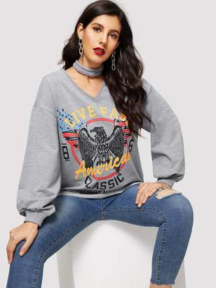 Shein Choker Neck Letter and Eagle Sweatshirt