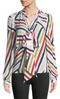 Milly Neck-Tie Striped Silk Blouse