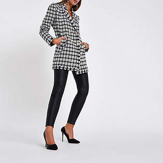 River Island White check boucle longline jacket