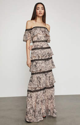 BCBGMAXAZRIA Off-The-Shoulder Tiered Ruffle Gown