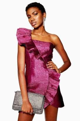 Topshop Pink Plisse Frill Dress