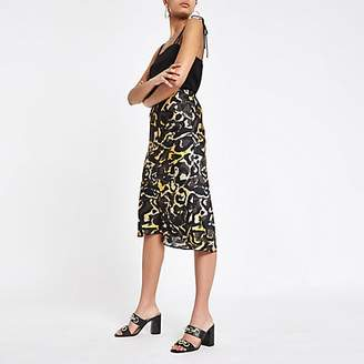 River Island Khaki camo bias cut midi skirt