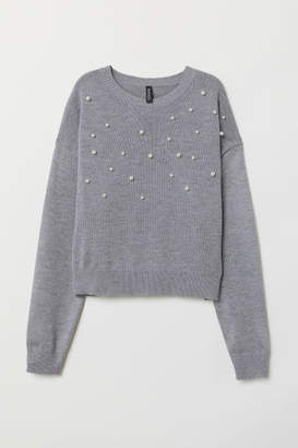 H&M Bead-patterned Knit Sweater - Gray