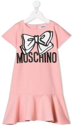 Moschino Kids logo bow print dress