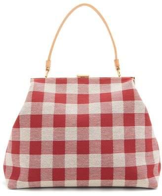 Mansur Gavriel Elegant Checker Cotton Canvas Bag - Womens - Red Multi