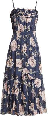 Rebecca Taylor - Magnolia Floral Print Silk Blend Dress - Womens - Navy Multi