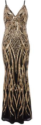 Quiz Black And Gold V Neck Fishtail Maxi Dress