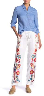 Johnny Was Briyah Embroidered Linen Pants
