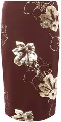 Dorothy Perkins Womens Burgundy Metallic Floral Pencil Skirt