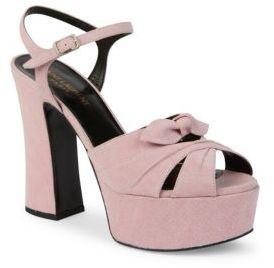 Saint Laurent Candy Denim Platform Sandals $995 thestylecure.com