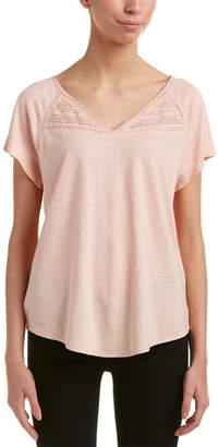 NYDJ Lace-Trim Linen-Blend Top
