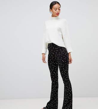 Asos Tall DESIGN Tall kickflare legging in mono polka dot