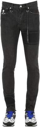 Skinny Fit Striped Cotton Denim Jeans
