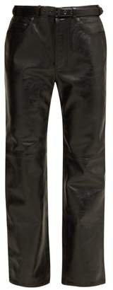 Acne Studios Belted Leather Trousers - Womens - Black
