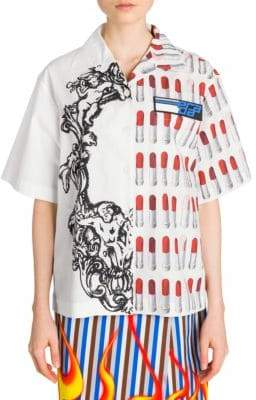 Prada Poplin Bi-Print Button-Down Shirt