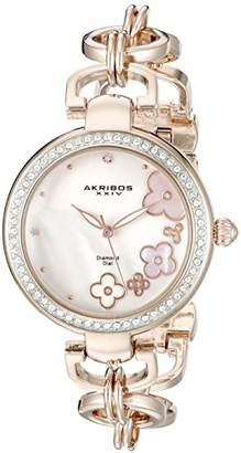 Akribos XXIV Women's AK874RG Round Pink Mother of Pearl Dial Three Hand Quartz Rose Gold Tone Strap Watch