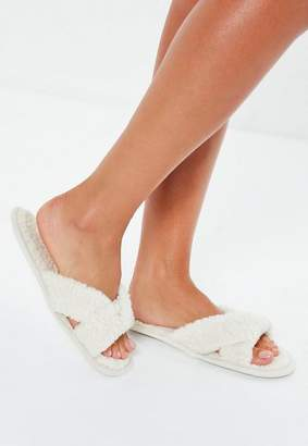 Missguided Cream Borg Twist Vamp Slippers