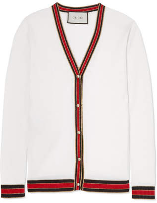 Gucci Faux Pearl-embellished Wool Cardigan - Ivory