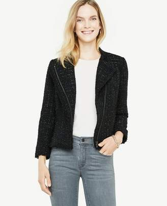 Ann Taylor Tall Shimmer Tweed Moto Jacket