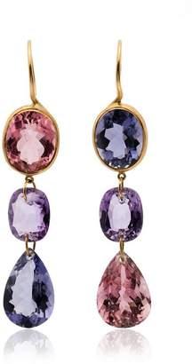 Marie Helene De Taillac Multicoloured Gemstone Drop Earrings
