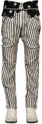 Faith Connexion Stripe & Stars Printed Silk Satin Pants