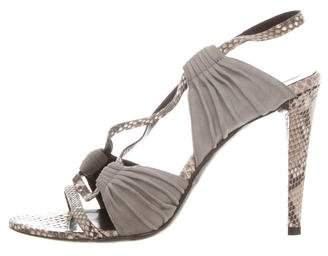 Balenciaga Snakeskin-Trimmed Cutout Sandals