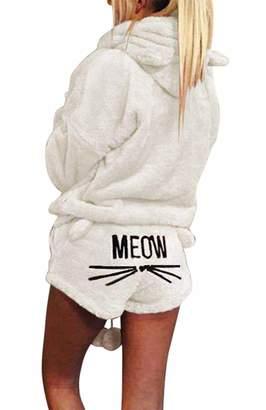 07577b25c077 Silver Basic Women Solid Color Warm Winter Set Two Piece Cute Cat Pajamas  Hoodie Sleepwear