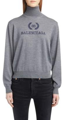 Balenciaga Embroidered Wreath Logo Wool & Cashmere Blend Sweater